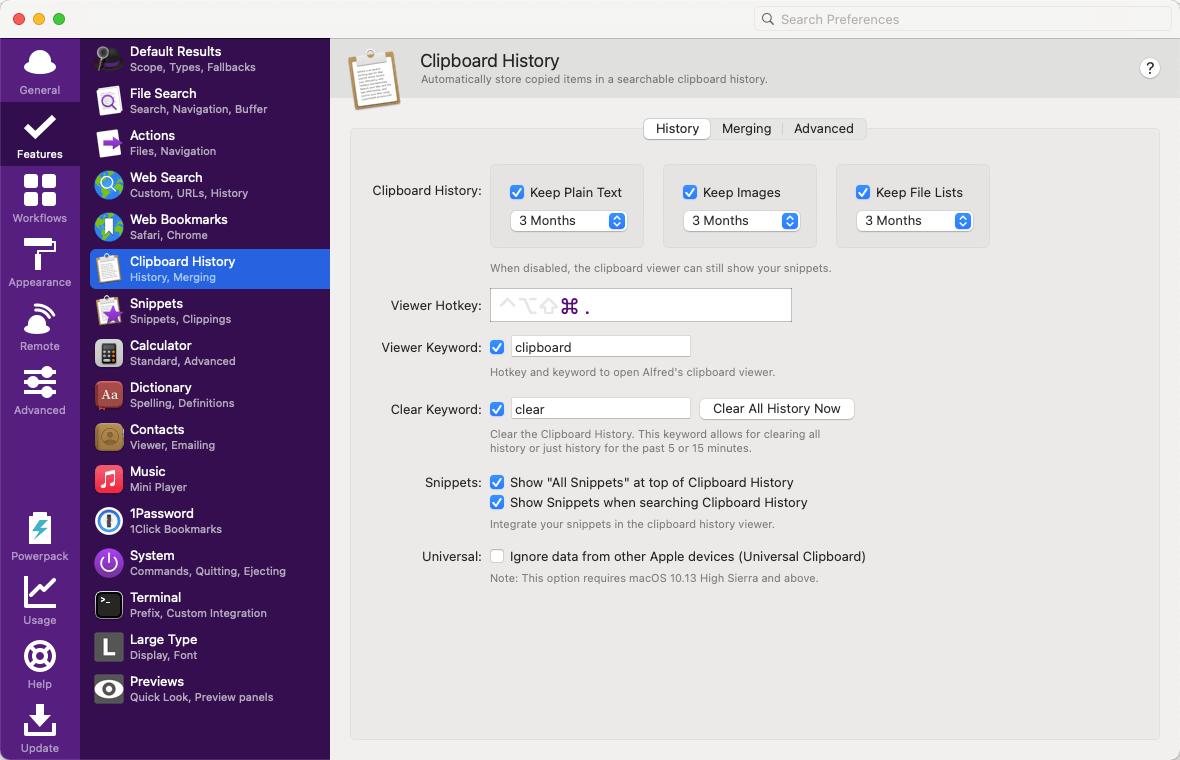 快捷键⌘ + .触发, 保存最长3个月记录