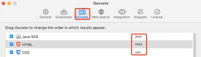 指定开发文档名称在Dash中可查询, 也可以自行修改